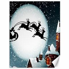 Santa Claus Christmas Snow Cool Night Moon Sky Canvas 36  X 48   by Alisyart