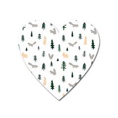 Squirrel Rabbit Tree Animals Snow Heart Magnet by Alisyart