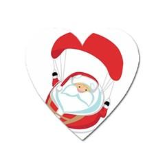 Skydiving Christmas Santa Claus Heart Magnet by Alisyart