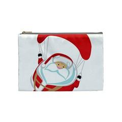 Skydiving Christmas Santa Claus Cosmetic Bag (medium)  by Alisyart