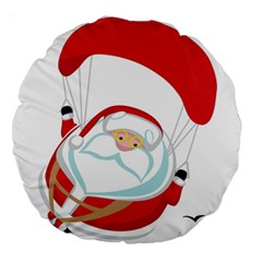 Skydiving Christmas Santa Claus Large 18  Premium Round Cushions by Alisyart