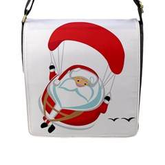 Skydiving Christmas Santa Claus Flap Messenger Bag (l)  by Alisyart