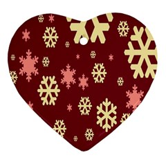 Snowflake Winter Illustration Colour Ornament (heart) by Alisyart