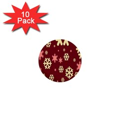 Snowflake Winter Illustration Colour 1  Mini Buttons (10 Pack)  by Alisyart