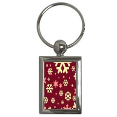 Snowflake Winter Illustration Colour Key Chains (rectangle)  by Alisyart