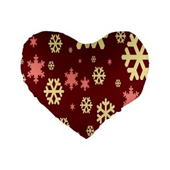 Snowflake Winter Illustration Colour Standard 16  Premium Heart Shape Cushions by Alisyart