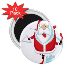 Surfing Snow Christmas Santa Claus 2 25  Magnets (10 Pack)  by Alisyart