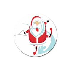 Surfing Snow Christmas Santa Claus Magnet 3  (round) by Alisyart