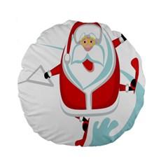 Surfing Snow Christmas Santa Claus Standard 15  Premium Round Cushions by Alisyart