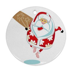 Surfing Christmas Santa Claus Ornament (round)
