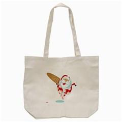 Surfing Christmas Santa Claus Tote Bag (cream) by Alisyart