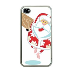 Surfing Christmas Santa Claus Apple Iphone 4 Case (clear) by Alisyart
