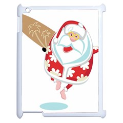 Surfing Christmas Santa Claus Apple Ipad 2 Case (white) by Alisyart