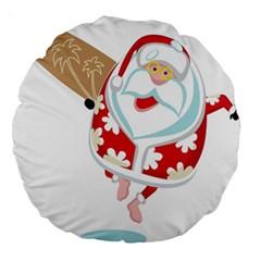 Surfing Christmas Santa Claus Large 18  Premium Round Cushions by Alisyart