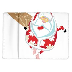 Surfing Christmas Santa Claus Samsung Galaxy Tab 10 1  P7500 Flip Case by Alisyart
