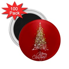 Tree Merry Christmas Red Star 2 25  Magnets (100 Pack)  by Alisyart