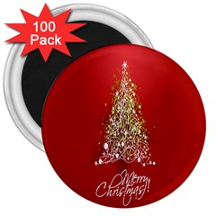 Tree Merry Christmas Red Star 3  Magnets (100 Pack) by Alisyart