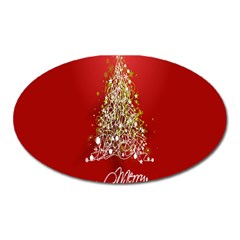 Tree Merry Christmas Red Star Oval Magnet by Alisyart