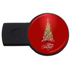 Tree Merry Christmas Red Star Usb Flash Drive Round (4 Gb) by Alisyart
