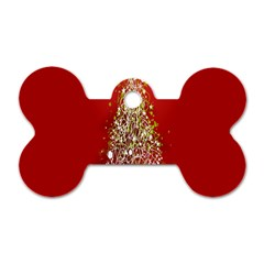 Tree Merry Christmas Red Star Dog Tag Bone (two Sides) by Alisyart