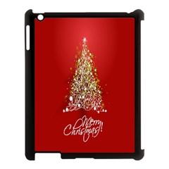 Tree Merry Christmas Red Star Apple Ipad 3/4 Case (black) by Alisyart