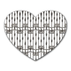 Iron Fence Grey Strong Heart Mousepads by Alisyart