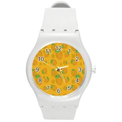 Fruit Pineapple Yellow Green Round Plastic Sport Watch (m) by Alisyart