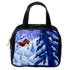 Christmas Wooden Snow Classic Handbags (one Side) by Alisyart