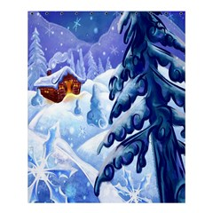 Christmas Wooden Snow Shower Curtain 60  X 72  (medium)  by Alisyart
