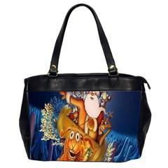 Deer Santa Claus Flying Trees Moon Night Christmas Office Handbags (2 Sides)  by Alisyart