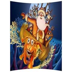 Deer Santa Claus Flying Trees Moon Night Christmas Back Support Cushion by Alisyart