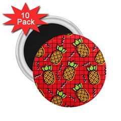Fruit Pineapple Red Yellow Green 2 25  Magnets (10 Pack)  by Alisyart
