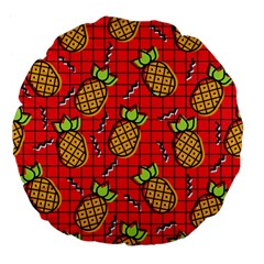 Fruit Pineapple Red Yellow Green Large 18  Premium Flano Round Cushions by Alisyart