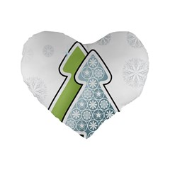 Tree Spruce Xmasts Cool Snow Standard 16  Premium Heart Shape Cushions by Alisyart