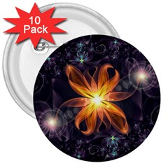 Beautiful Orange Star Lily Fractal Flower At Night 3  Buttons (10 Pack)  by beautifulfractals