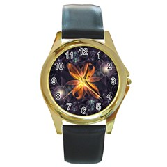 Beautiful Orange Star Lily Fractal Flower At Night Round Gold Metal Watch by beautifulfractals