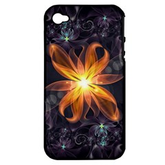 Beautiful Orange Star Lily Fractal Flower At Night Apple Iphone 4/4s Hardshell Case (pc+silicone) by beautifulfractals