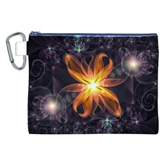 Beautiful Orange Star Lily Fractal Flower At Night Canvas Cosmetic Bag (xxl) by beautifulfractals