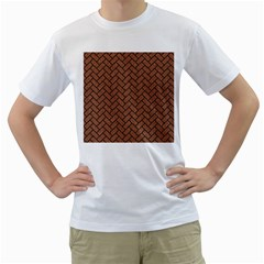 Brick2 Black Marble & Brown Denim Men s T Shirt (white) (two Sided) by trendistuff