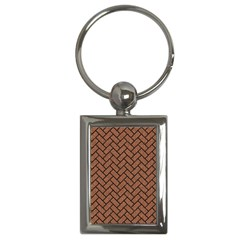Brick2 Black Marble & Brown Denim Key Chains (rectangle)  by trendistuff
