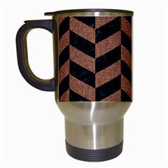 Chevron1 Black Marble & Brown Denim Travel Mugs (white) by trendistuff