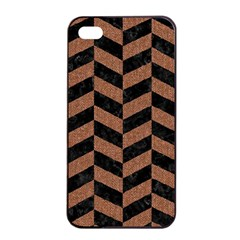 Chevron1 Black Marble & Brown Denim Apple Iphone 4/4s Seamless Case (black) by trendistuff