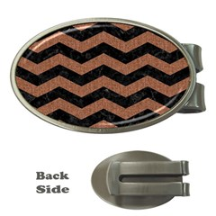 Chevron3 Black Marble & Brown Denim Money Clips (oval)  by trendistuff