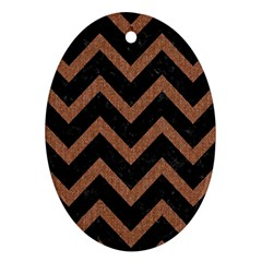 Chevron9 Black Marble & Brown Denim (r) Oval Ornament (two Sides) by trendistuff