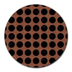 Circles1 Black Marble & Brown Denim Round Mousepads by trendistuff