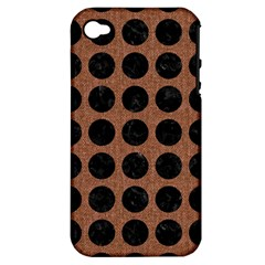 Circles1 Black Marble & Brown Denim Apple Iphone 4/4s Hardshell Case (pc+silicone) by trendistuff