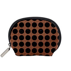 Circles1 Black Marble & Brown Denim Accessory Pouches (small)  by trendistuff