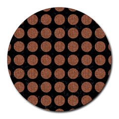 Circles1 Black Marble & Brown Denim (r) Round Mousepads by trendistuff