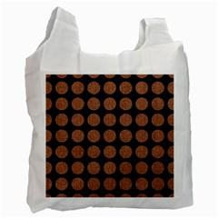 Circles1 Black Marble & Brown Denim (r) Recycle Bag (one Side) by trendistuff