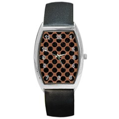 Circles2 Black Marble & Brown Denim Barrel Style Metal Watch by trendistuff